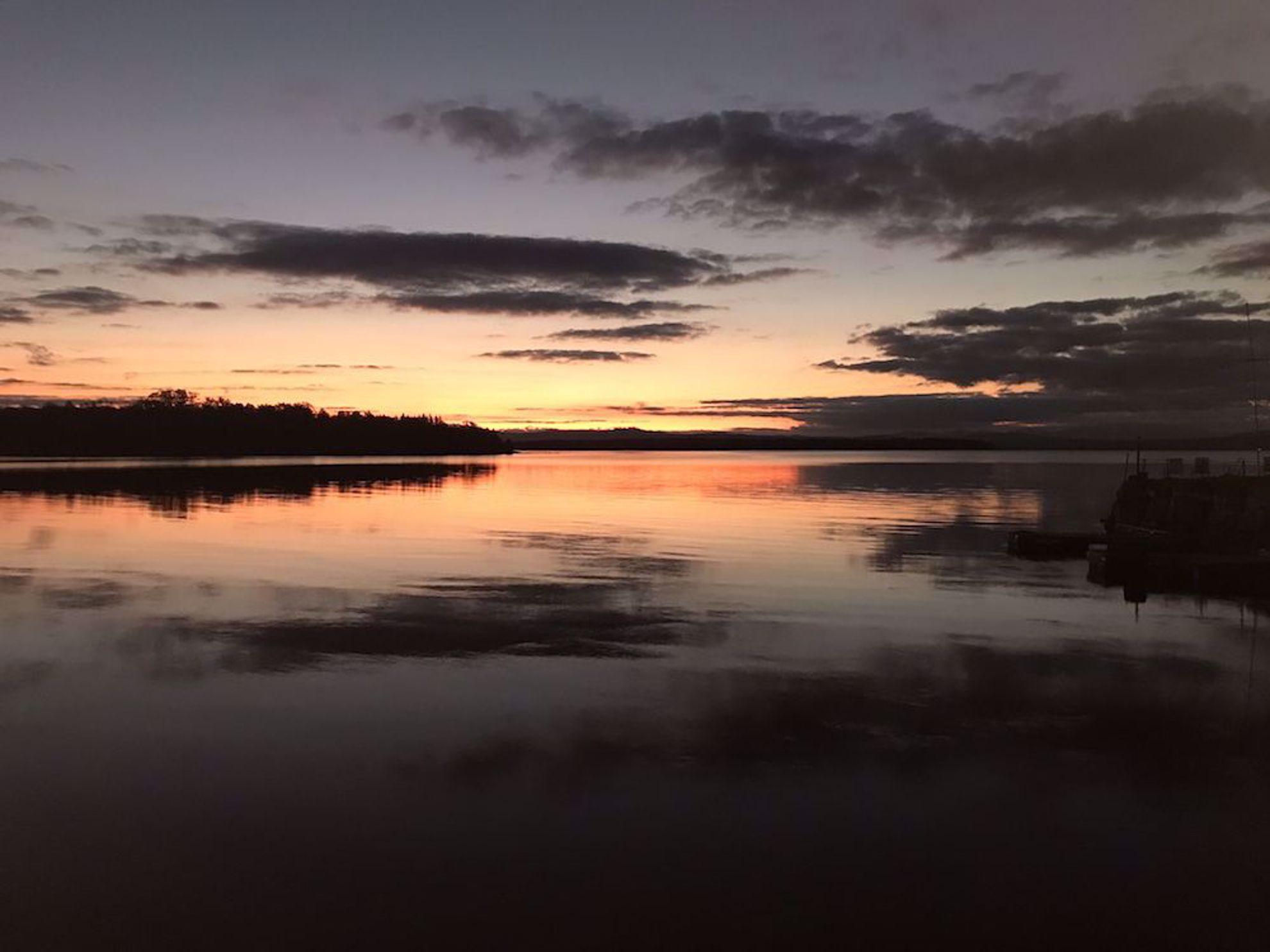 Sunset calm Lake Champlain