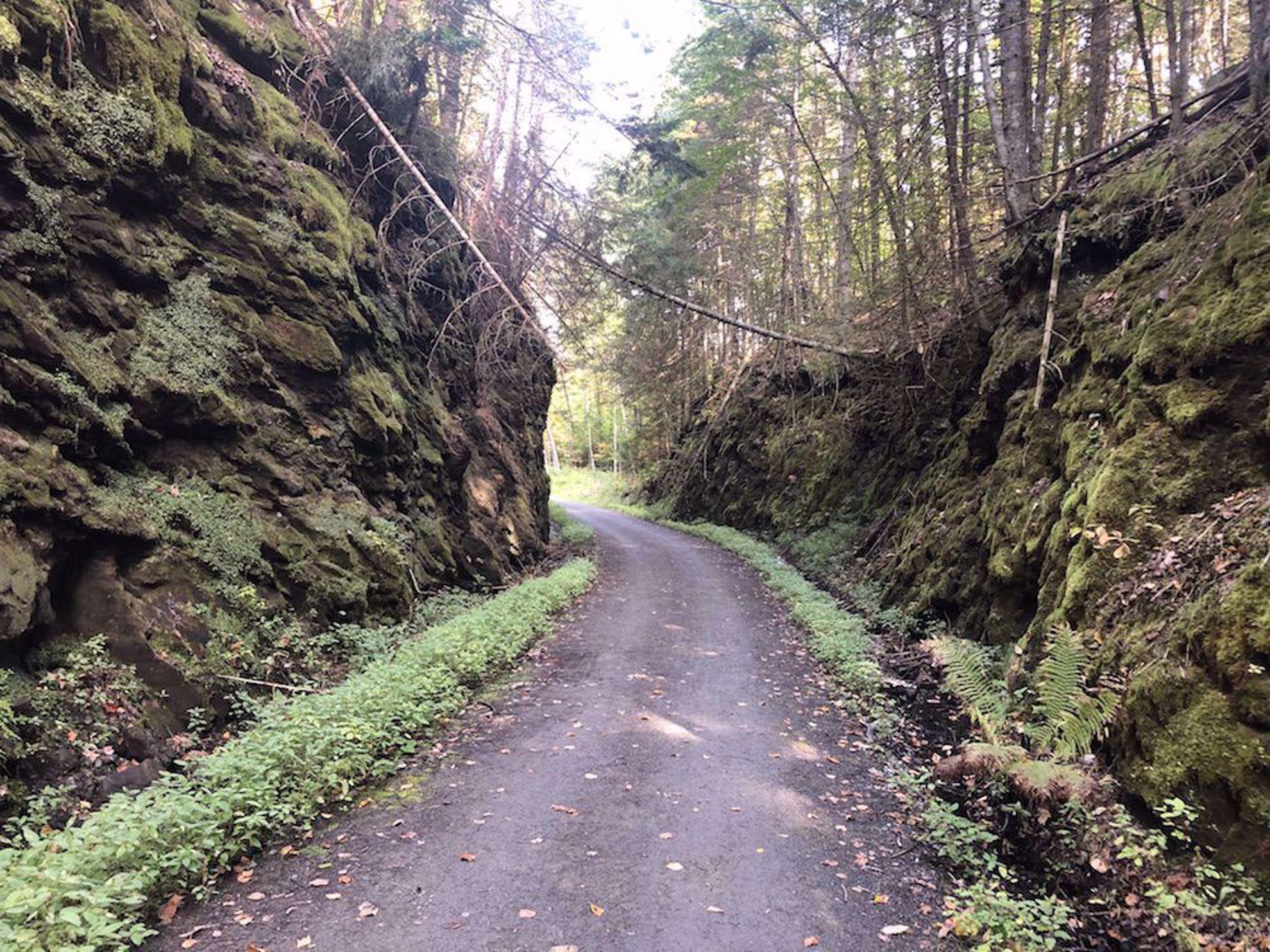 Rail trail through rock