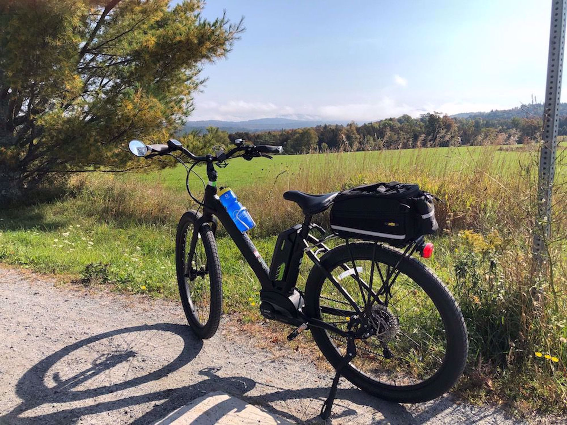 E-bike with mountains on trail