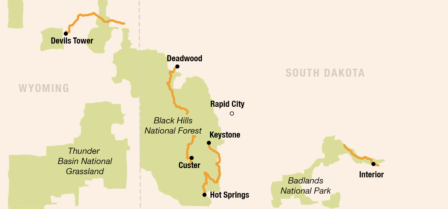 Mickelson Trail and Black Hills map