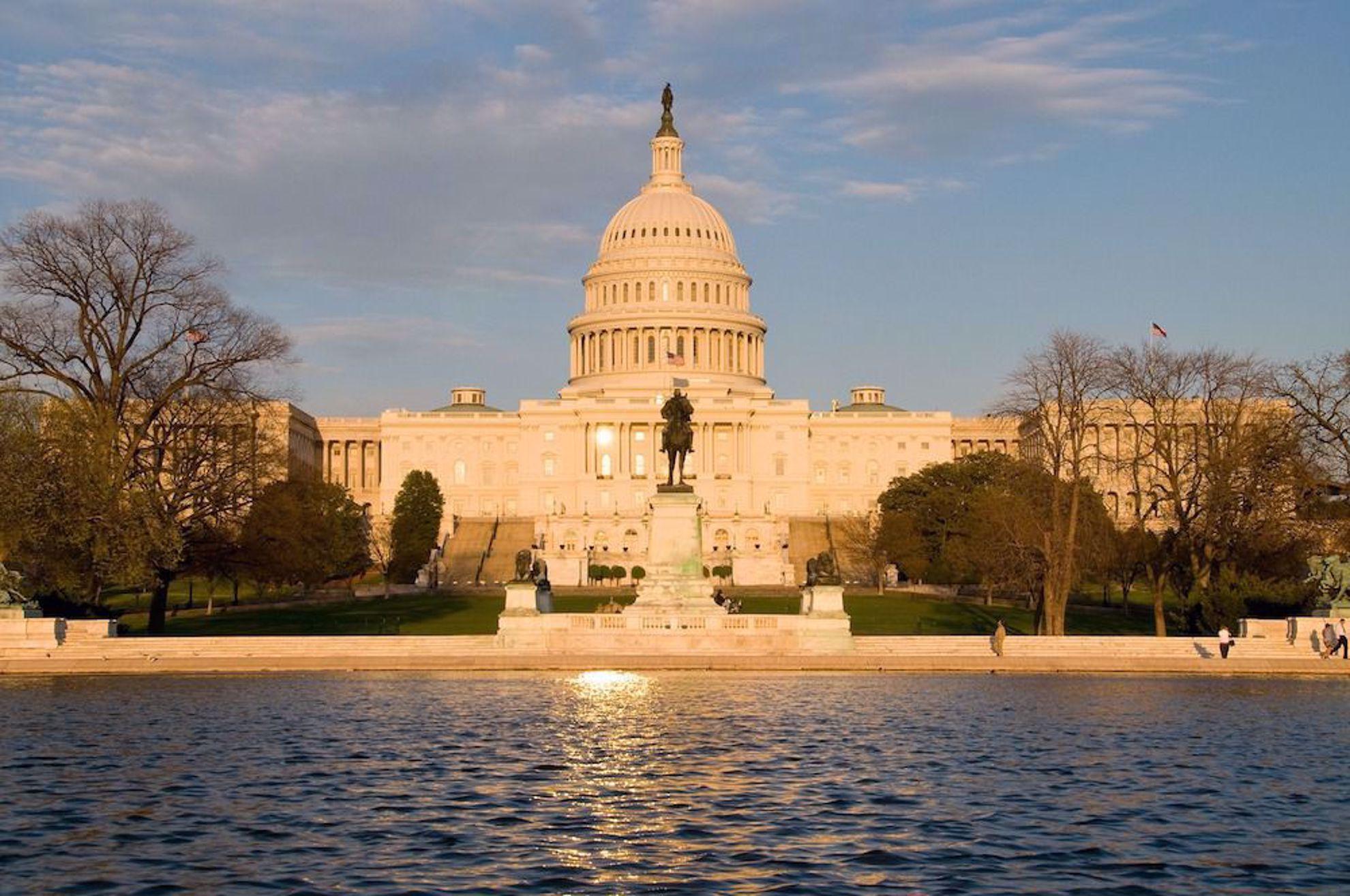 Capitol building Washington DC at sunset