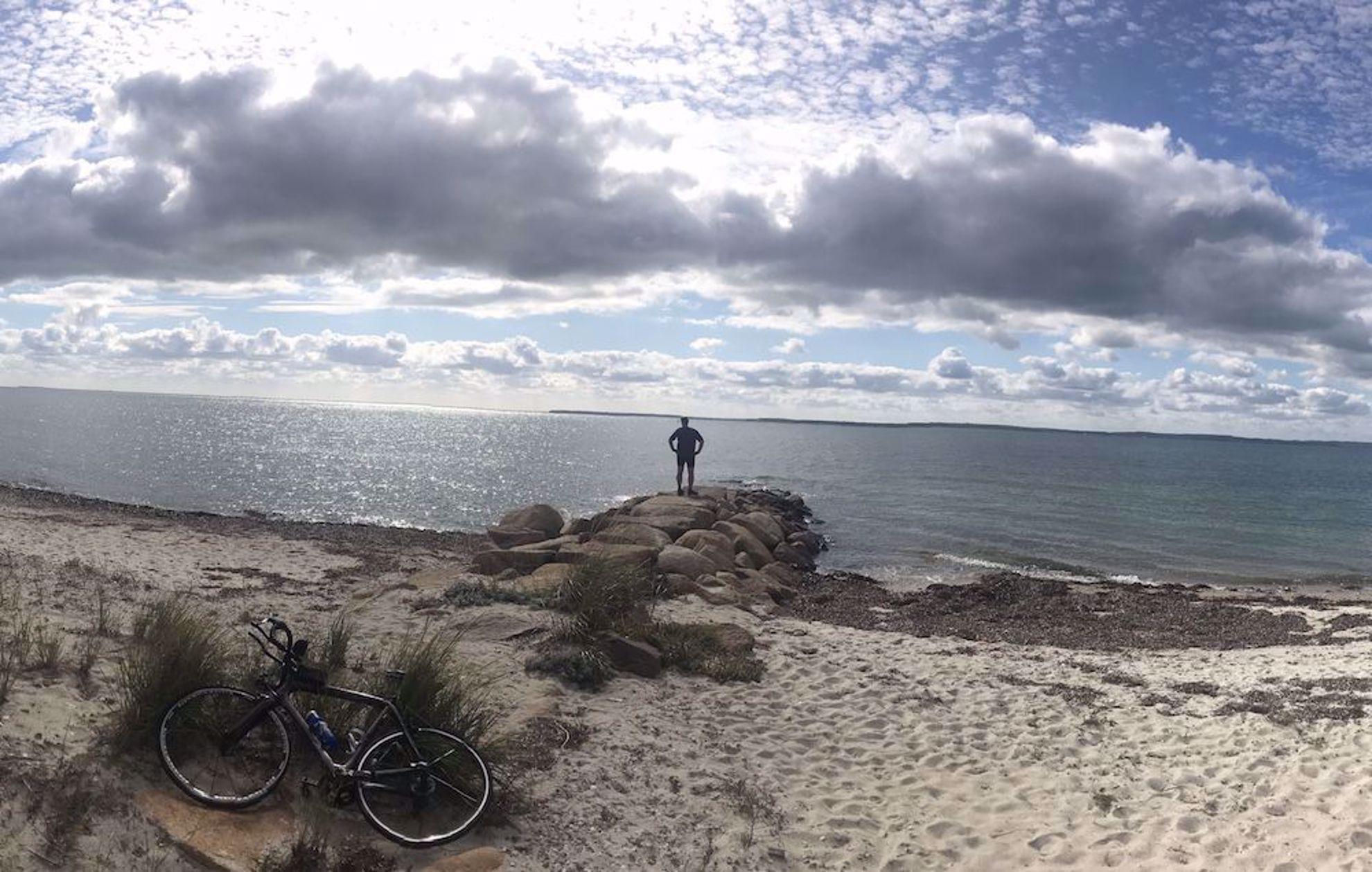 Bicyclist on beach