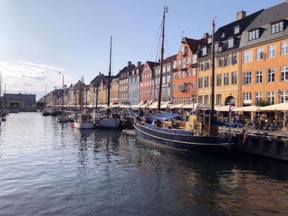 Copenhagen harbor with boats