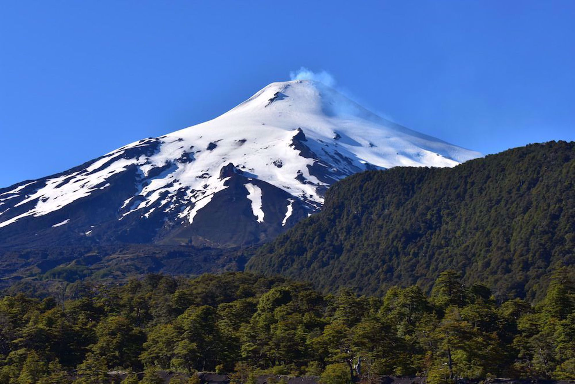 Steaming volcano near Pucon Chile