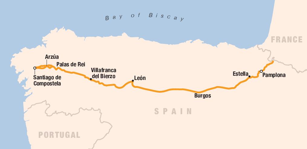 Spain el Camino map