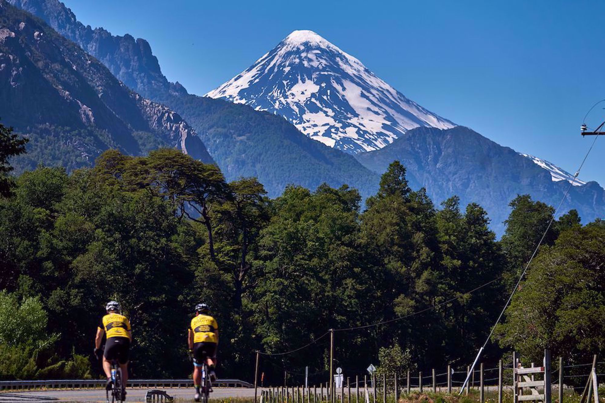 Chile volcano with cyclists