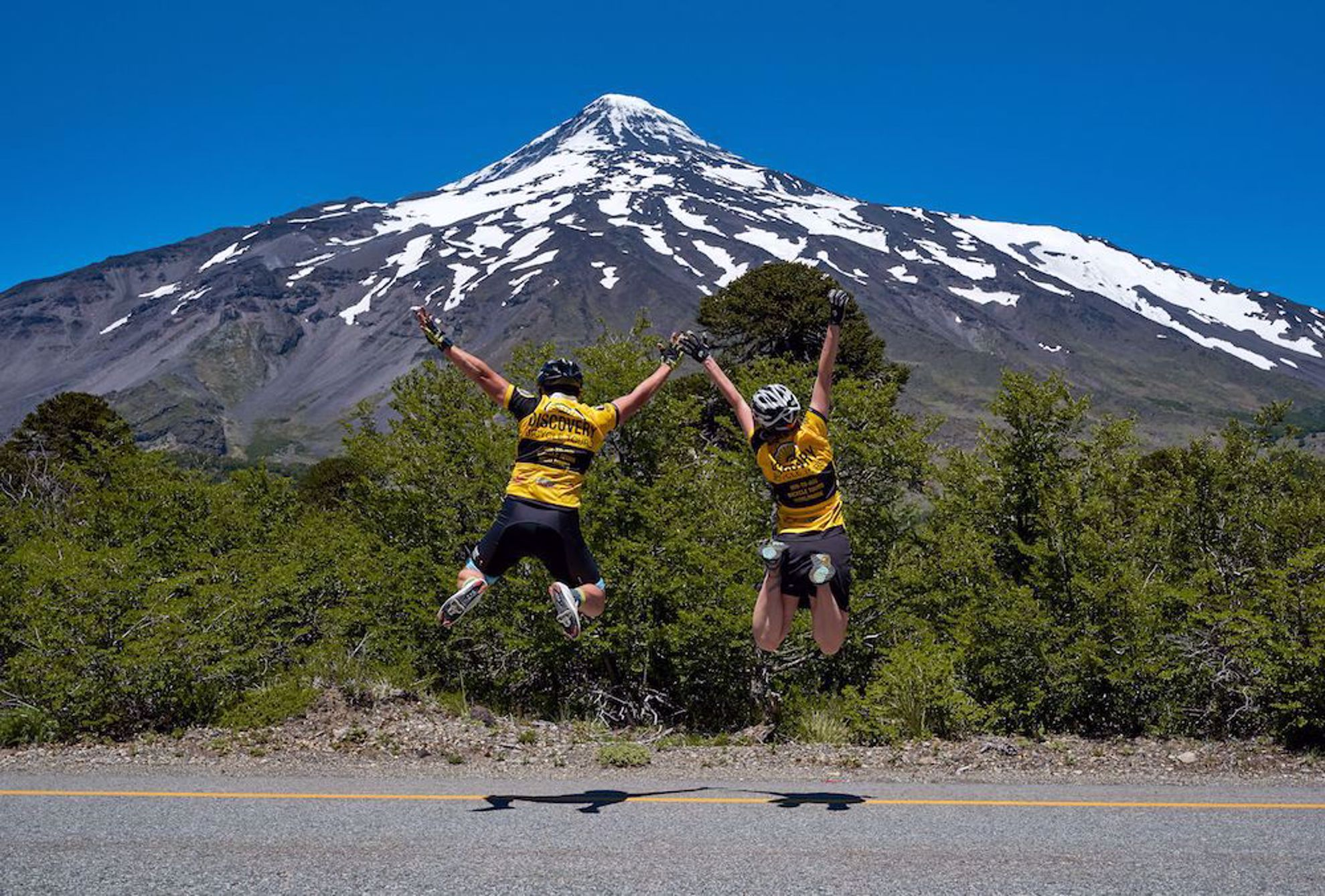 Jump for joy by volcano, Chile