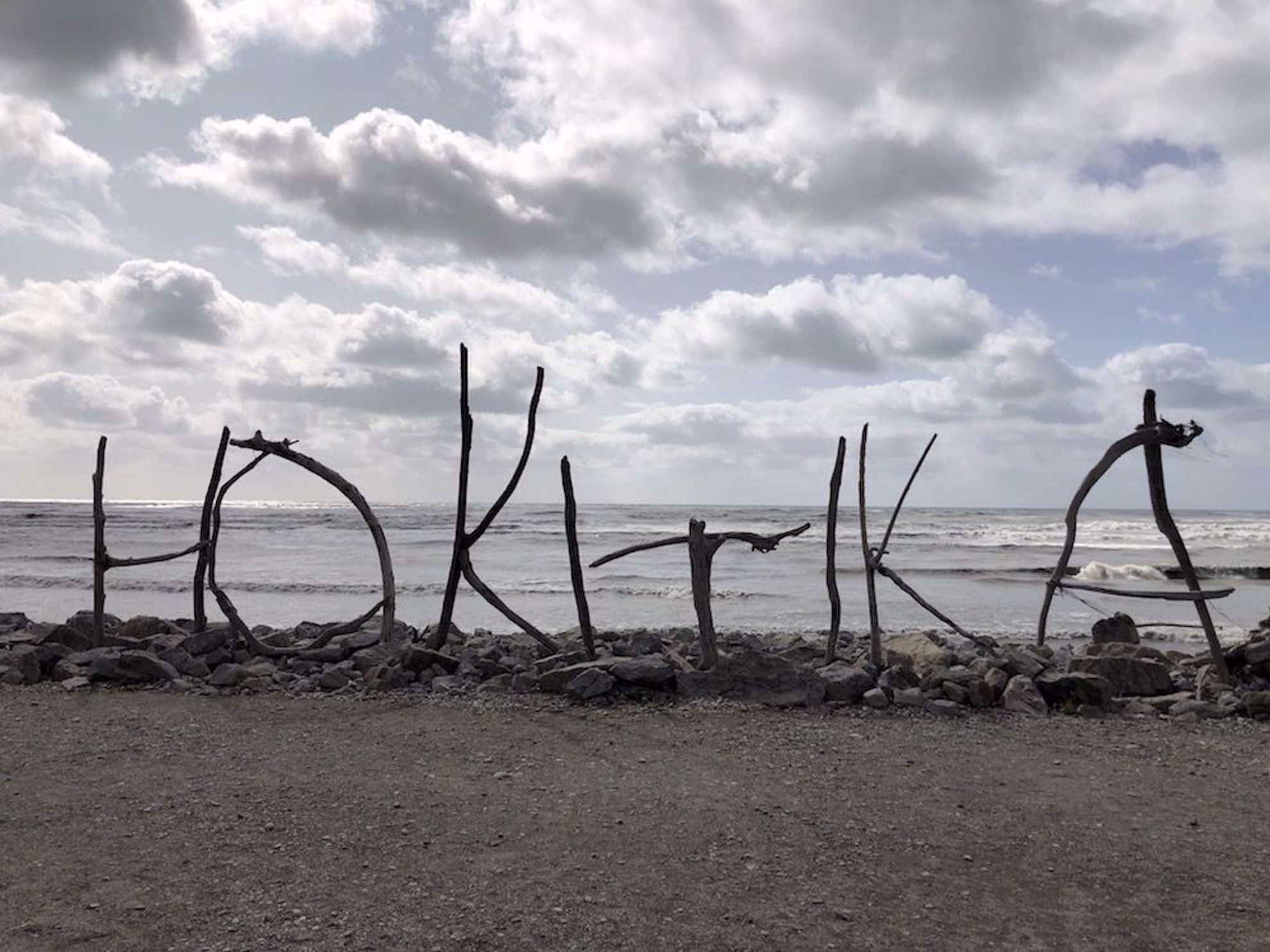Beach art in Hokitika, New Zealand