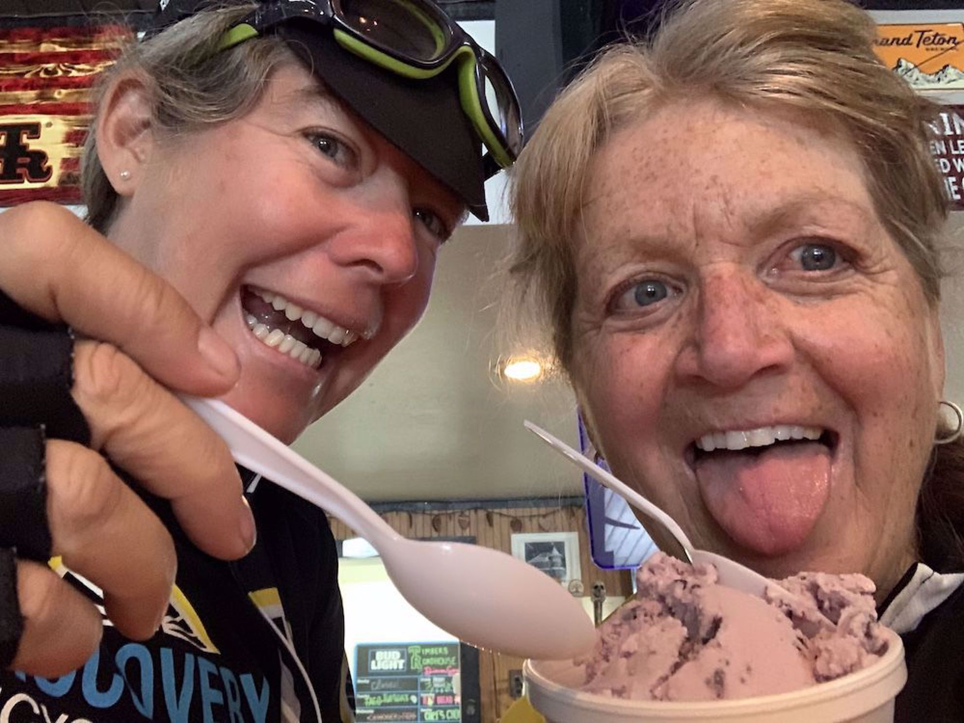 Calista and Cindy with huckleberry ice cream