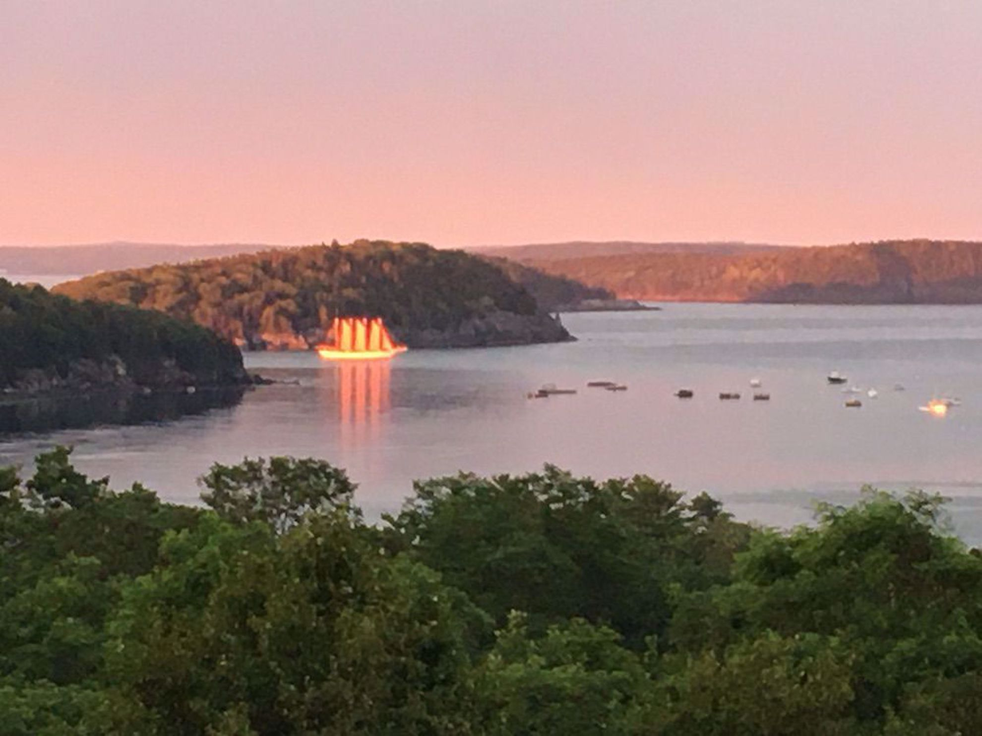Margaret Todd sailing at sunset