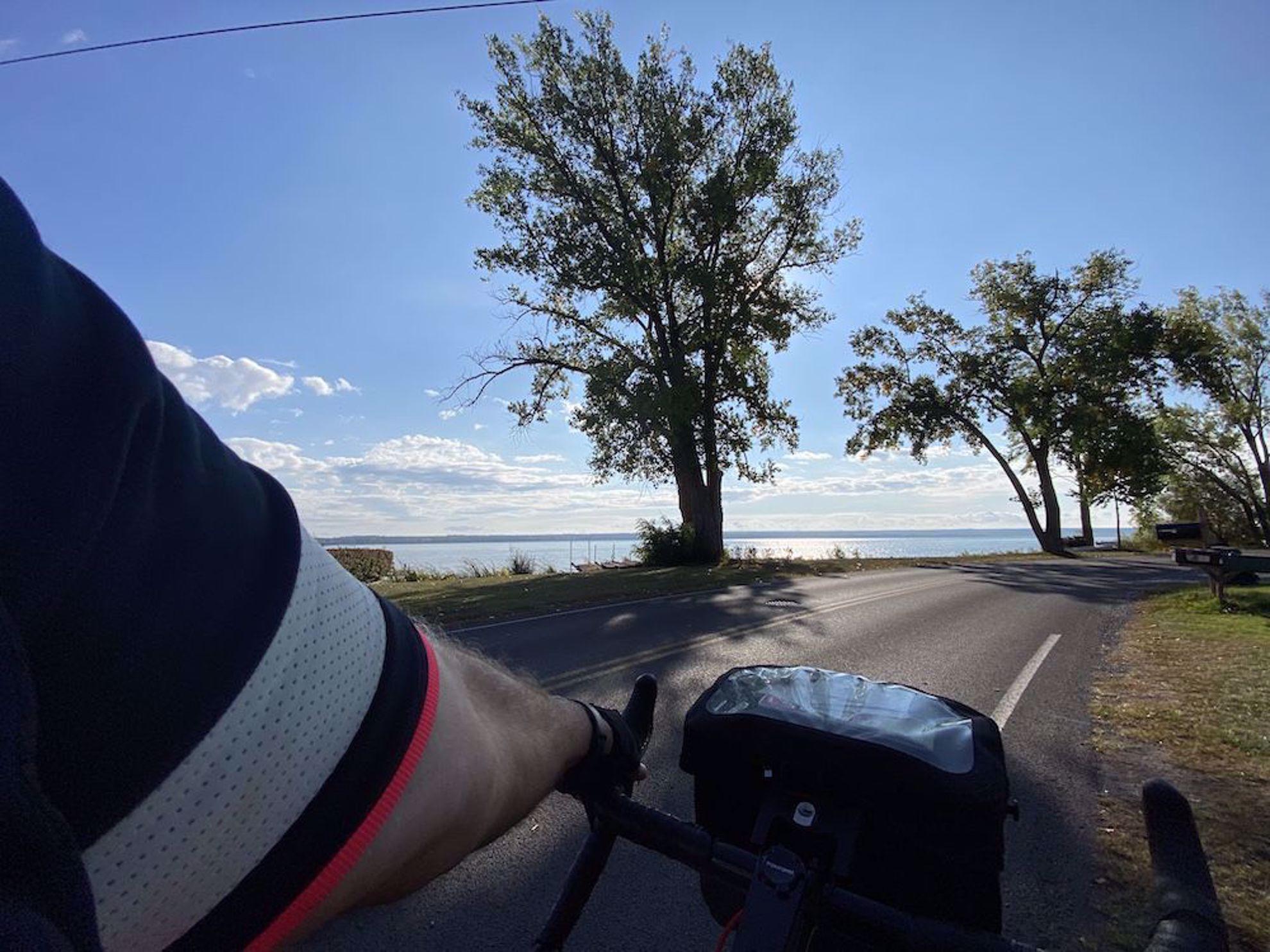 Biking by the college