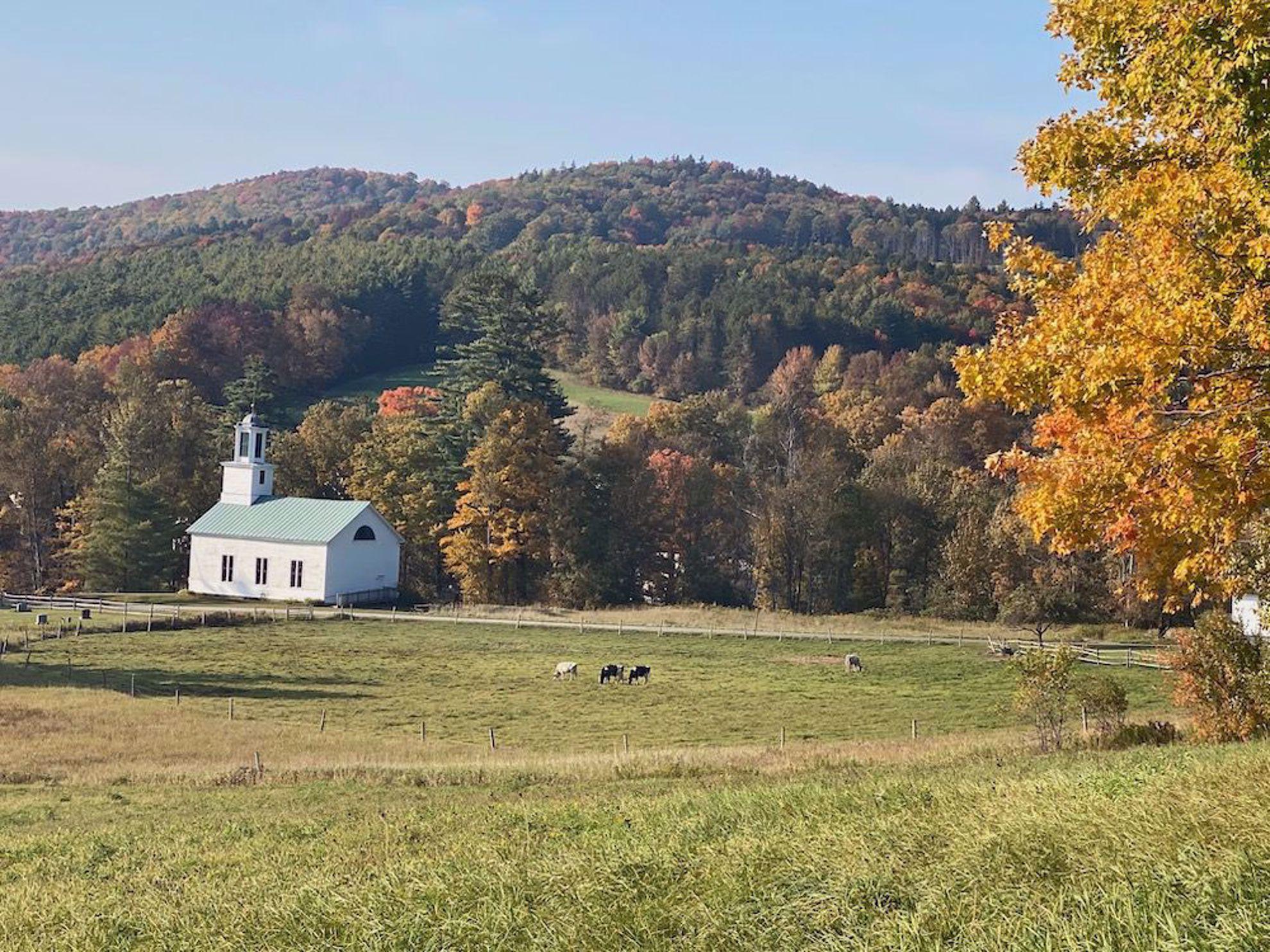 East Barnard Church in fall