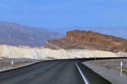 Zabriskie with dunes and road