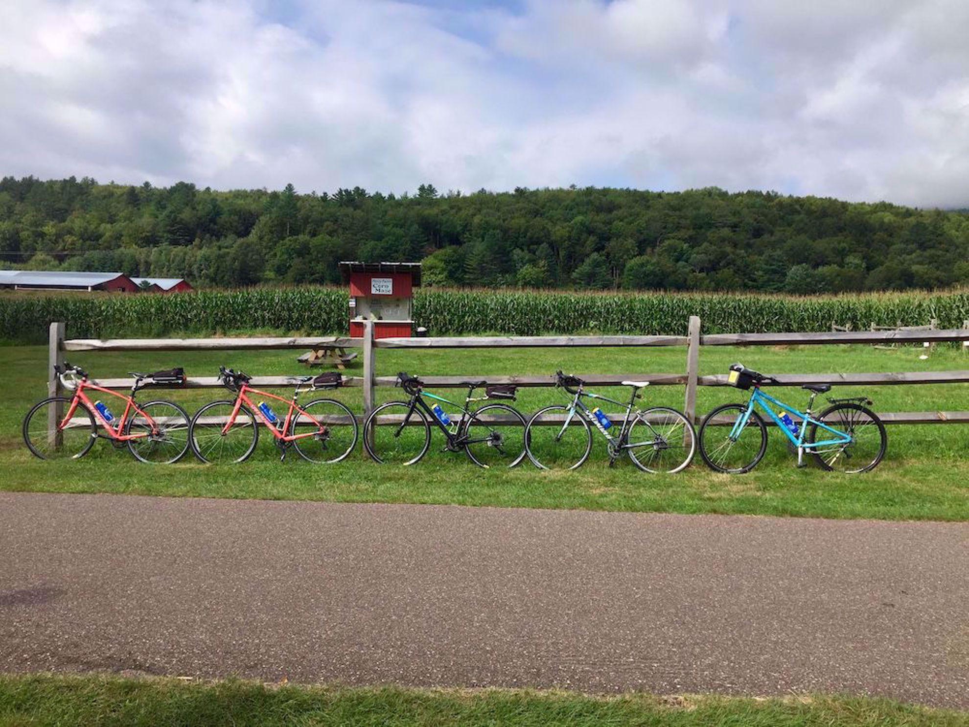 bikes by corn maze