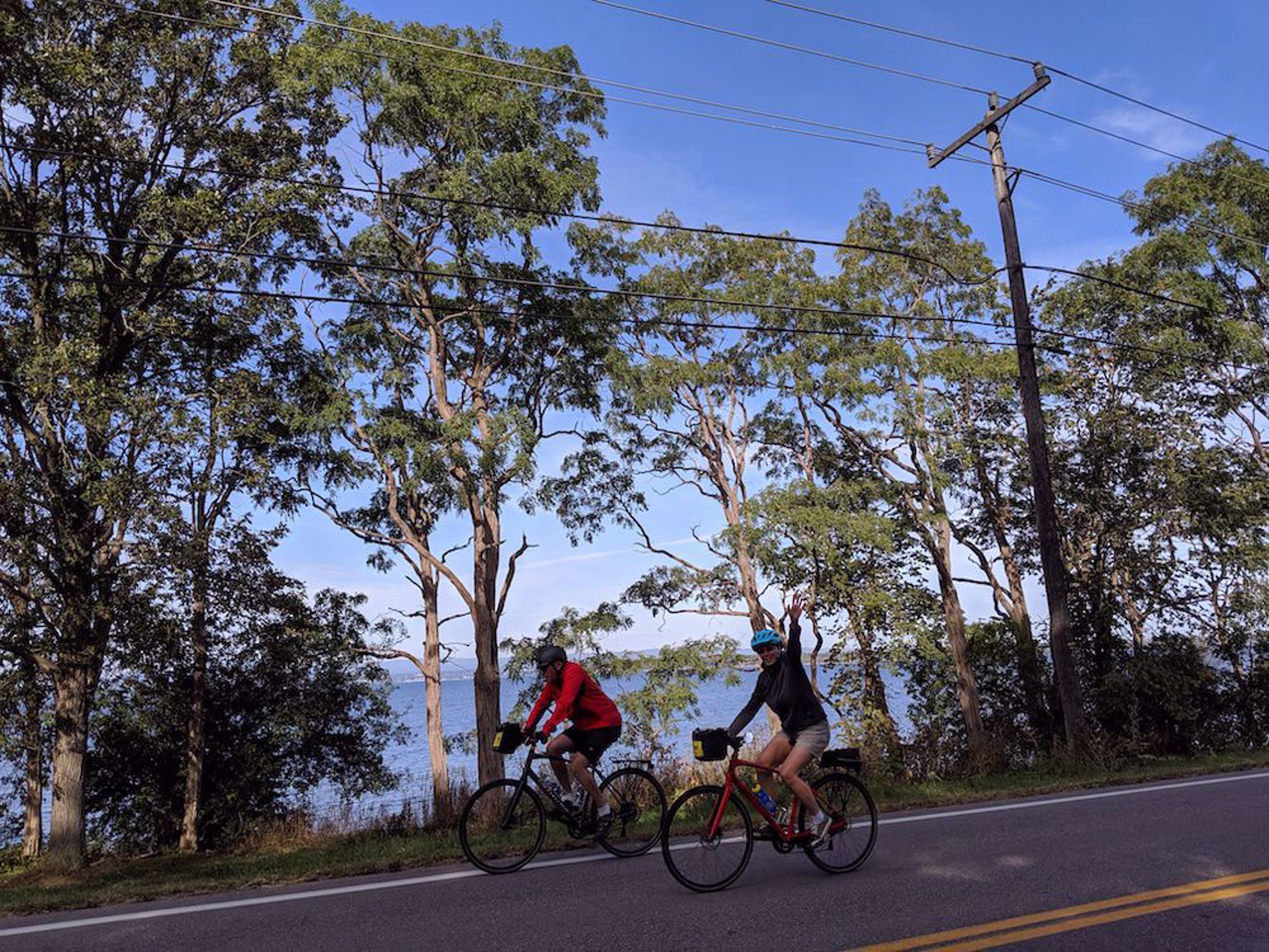 Road biking near Lake Champlain