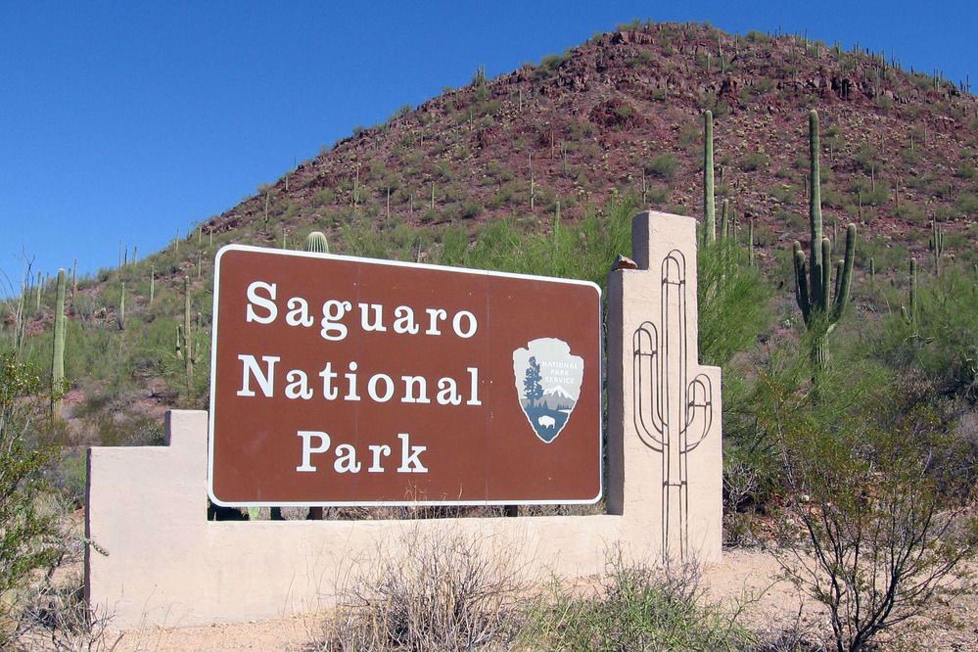 Saguaro National Park sign