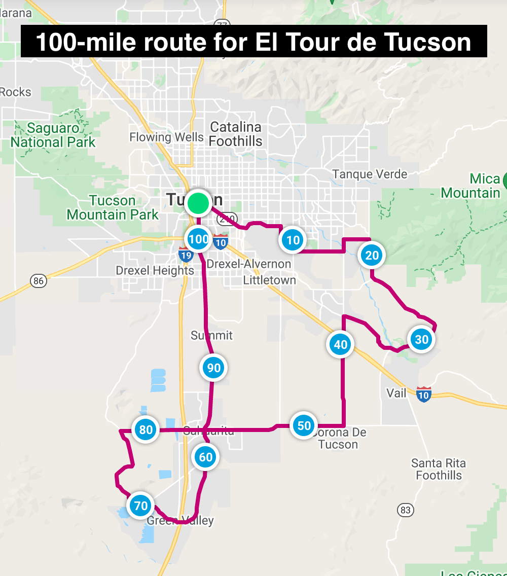 Map of 100-mile course