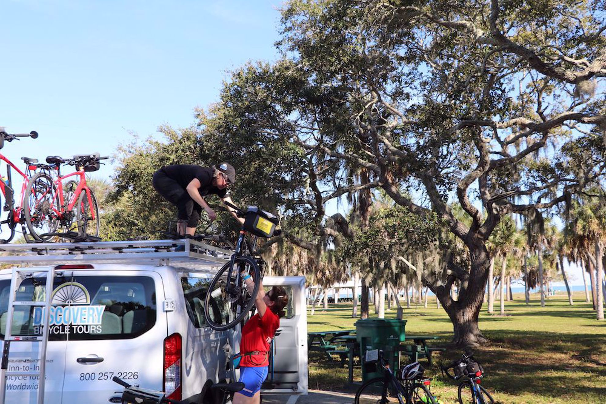 Loading bikes in Fort DeSoto Park